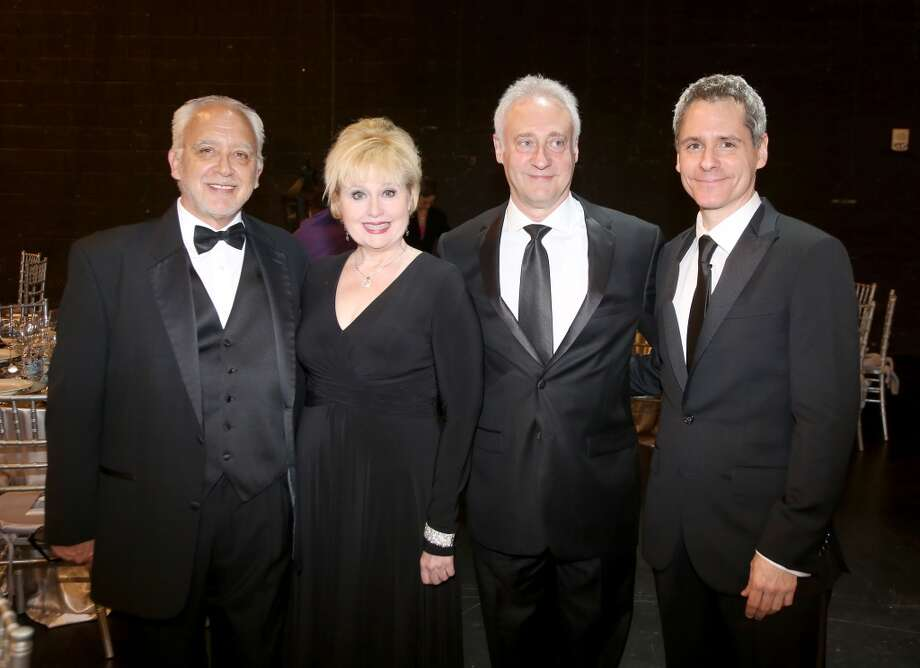 From left to right, Bruce Lumpkin, Sally Mayes, Brent Spiner and Bruce Norris during the cocktail hour at the Hobby Center for Theatre Under The Stars silent auction in Houston, Texas.