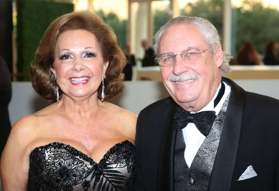 From left to right, Philamena Baird and Arthur Baird during the cocktail hour at the Hobby Center for Theatre Under The Stars silent auction in Houston, Texas.