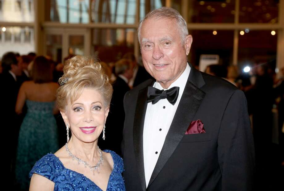 From left to right, Margaret Williams and Jim Daniel during the cocktail hour at the Hobby Center for Theatre Under The Stars silent auction in Houston, Texas.