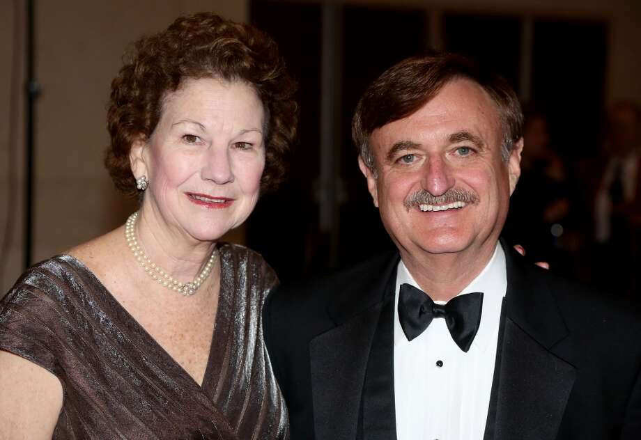 From left to right, Betty and Wade Taylor during the cocktail hour at the Hobby Center for Theatre Under The Stars silent auction in Houston, Texas.