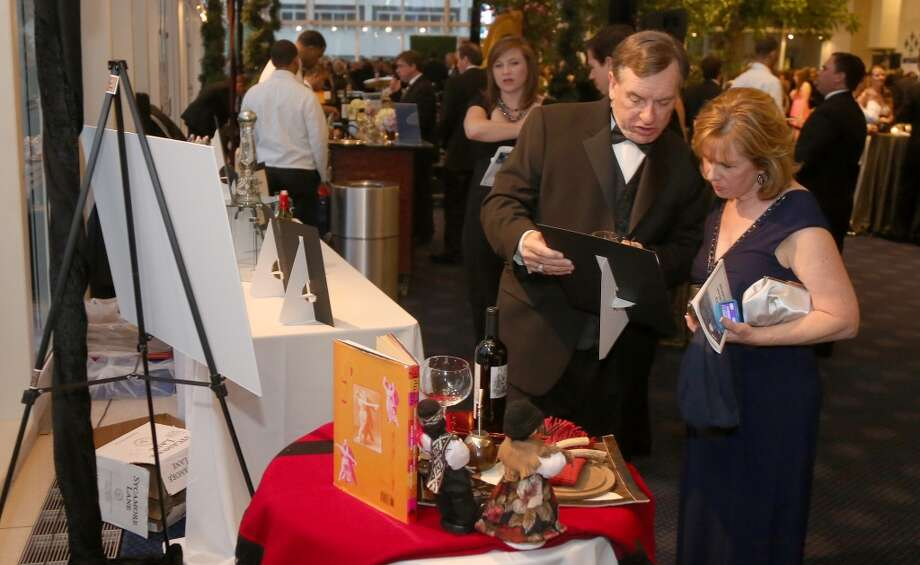 4/19/13: General scene during the cocktail hour at the Hobby Center for Theatre Under The Stars silent auction in Houston, Texas.