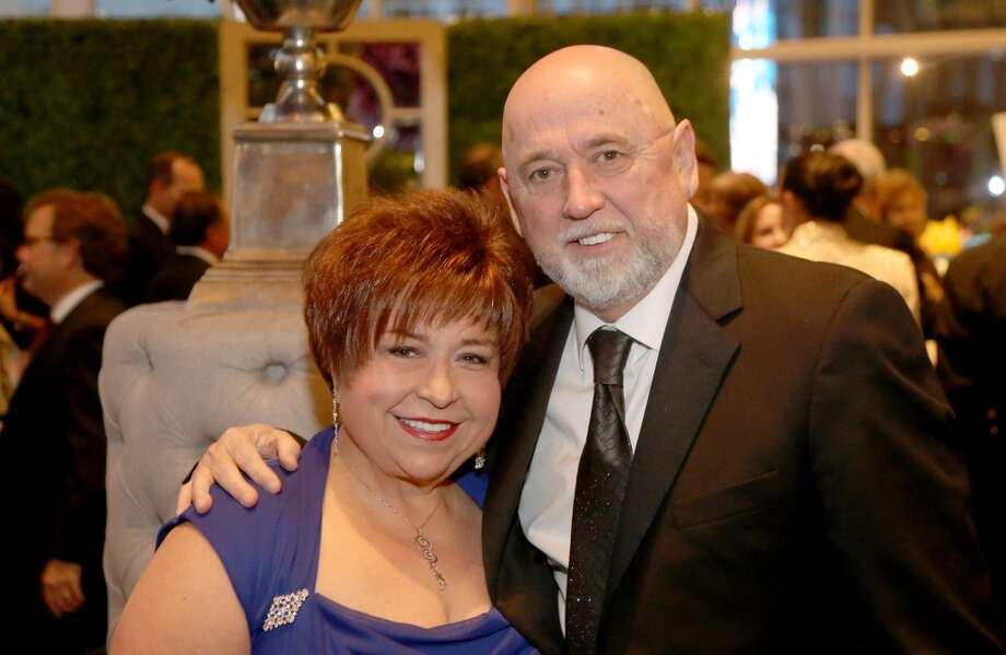 4/19/13: From left to right, Trini Mendenhall and Frank Sosa during the cocktail hour at the Hobby Center for Theatre Under The Stars silent auction in Houston, Texas.