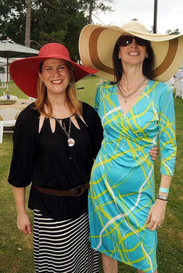 Ann Waldron and Karyn Guerrero at a Yellowstone Academy benefit at the Houston  Polo Club Sunday April 21, 2013.(Dave Rossman photo)