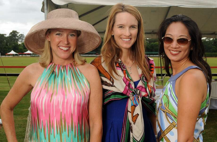From left: Nancy Mathe, Susan Elias and Melicia Tjoa at a Yellowstone Academy benefit at the Houston  Polo Club Sunday April 21, 2013.(Dave Rossman photo)