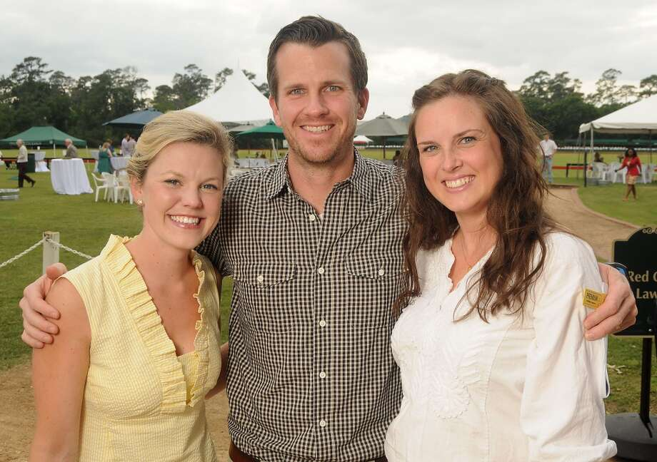 From left: Mollie Mitchell with Heath and Amber Haynes at a Yellowstone Academy benefit at the Houston  Polo Club Sunday April 21, 2013.(Dave Rossman photo)