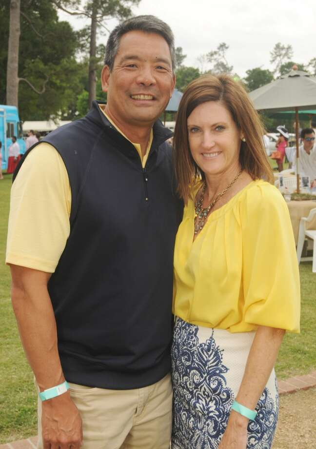 Mike and Stephanie Tsuru at a Yellowstone Academy benefit at the Houston  Polo Club Sunday April 21, 2013.(Dave Rossman photo)