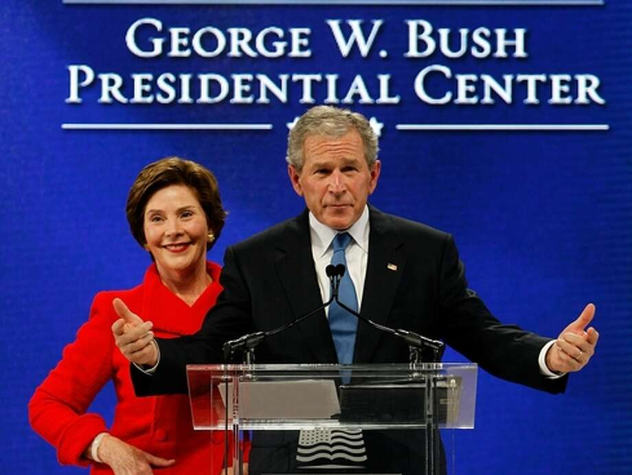 George W. Bush at the groundbreaking ceremony for his presidential center at SMU. Getty Images.