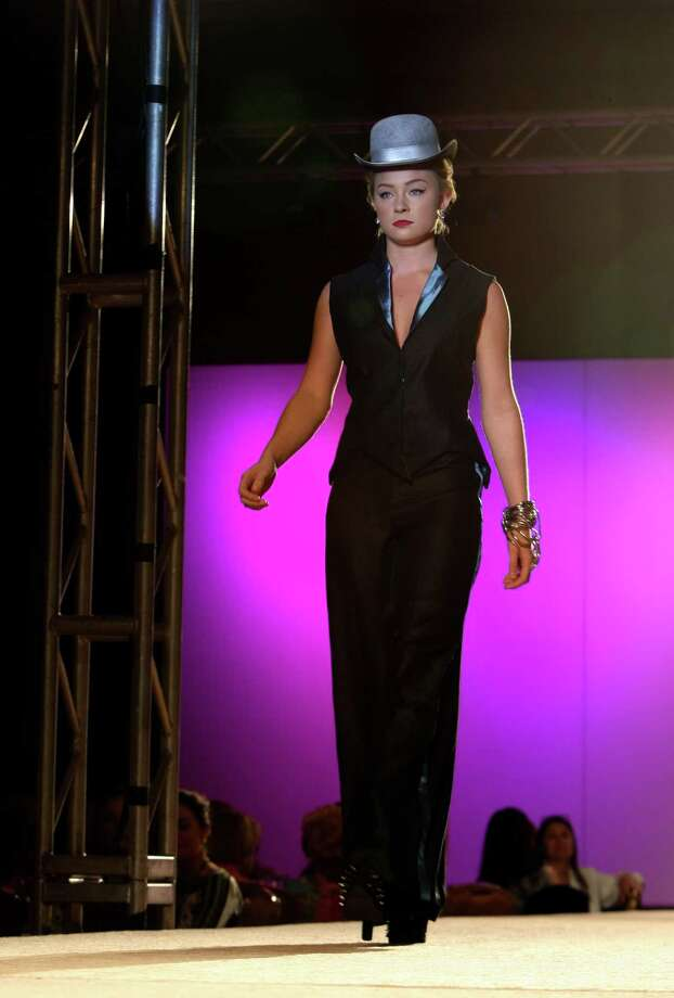 """Rough Evening"" by Shatorria Whitener, who was among the nine University of Incarnate Word students who presented six looks for the Cutting Edge Fiesta Fashion Show on Monday April 22, 2013. Photo: Helen L. Montoya, San Antonio Express-News / ©2013 San Antonio Express-News"
