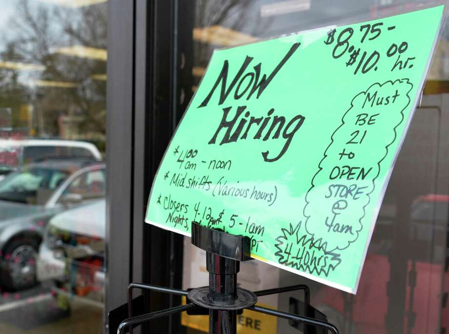 Hiring sign outside the Stewarts store at Broadway and Circular St. in Saratoga Springs Tuesday April 23, 2013.  (John Carl D'Annibale / Times Union) Photo: John Carl D'Annibale / 10022096A