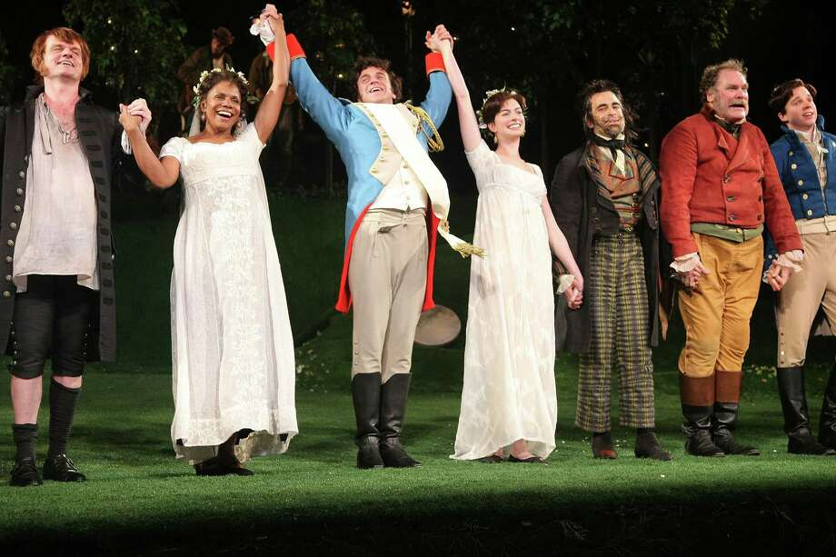 "Actors Audra McDonald, Raul Esparza, Anne Hathaway, David Pittu and Jay O. Sanders perform during the 2009 Shakespeare in the Park opening night performance of ""Twelfth Night at the Delacorte Theater on June 25, 2009 in New York City. Photo: Michael Loccisano, Getty / 2009 Getty Images"
