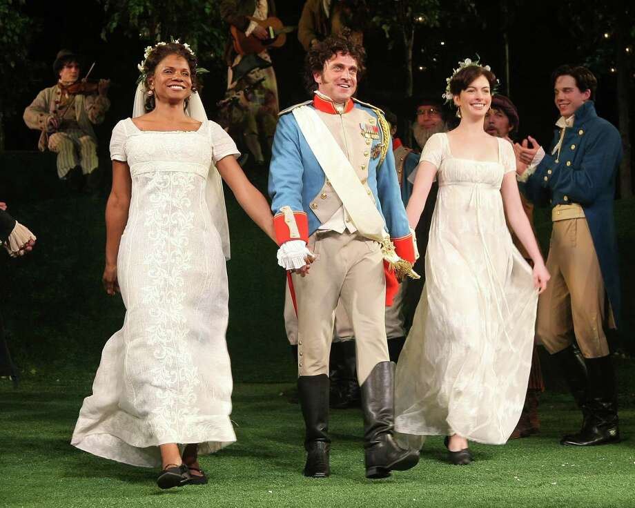 "Actors Audra McDonald, Raul Esparza and Anne Hathaway perform during the 2009 Shakespeare in the Park opening night performance of ""Twelfth Night at the Delacorte Theater on June 25, 2009 in New York City. Photo: Michael Loccisano, Getty / 2009 Getty Images"