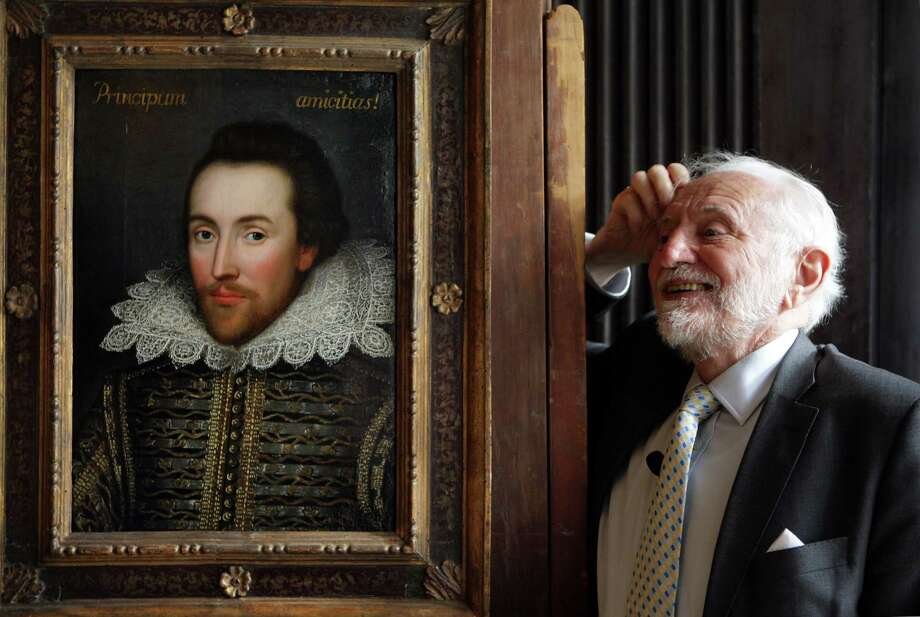Professor Stanley Wells, the chairman of The Shakespeare Birthplace Trust, unveiled in 2009 a painting of William Shakespeare which he believes to be the only authentic image of Shakespeare made during his life in London, England. The painting is believed to date from around 1610 and depicts Shakespeare in his mid-forties.  Photo: Oli Scarff, Getty / 2009 Getty Images