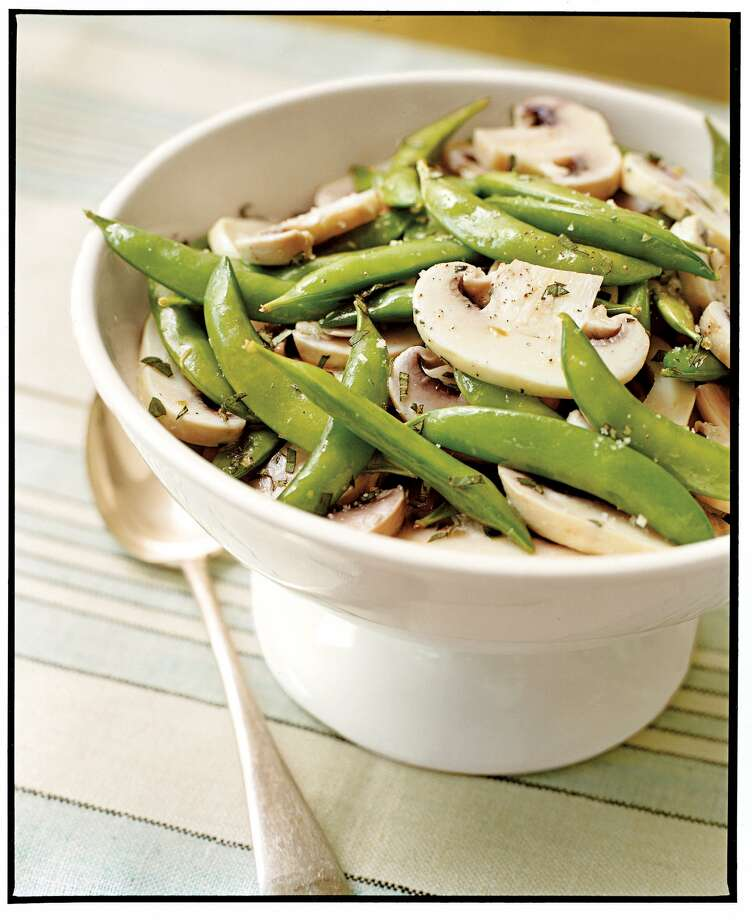 Country Living recipe for Snap Pea and Marinated Mushroom Salad. Photo: Michael Weschler