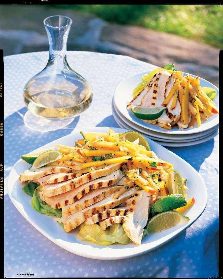 Curried Chicken with Mango and Cantaloupe Slaw. Photo: Brian Hagiwara