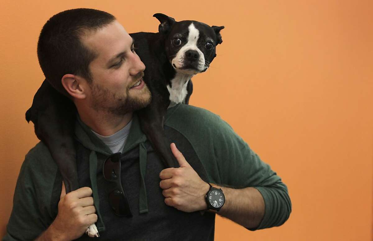 Jared Surasky and his Boston terrier Boogie work at Eventbrite in San Francisco, Calif. on Thursday, April 11, 2013. Surasky has used rover.com, an online dog-sitting service to find homes for Boogie to stay in when Surasky travels out of town.