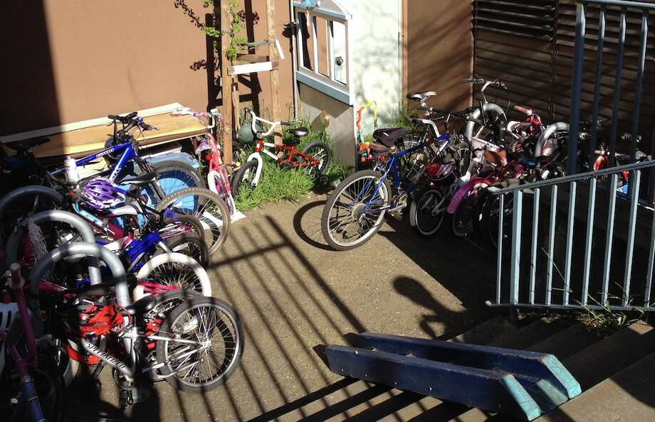 Full bike cage at Peabody Elementary.