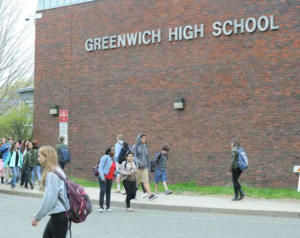Dismissal time at Greenwich High School, Tuesday, April 23, 2013. Photo: Bob Luckey / Greenwich Time