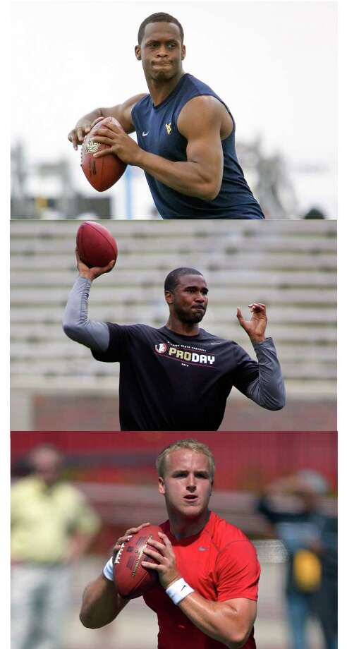 FILE- This combo image of March 2013 file photos shows quarterbacks, from top, Geno Smith,  E.J. Manuel and Matt Barkley during their respective NFL football pro days. Will any quarterbacks be taken in the first round? Possibilities include Geno Smith, Matt Barkley and E.J. Manuel_one of the things to watch for during the three-day NFL draft beginning Thursday, April 25, 2013. (AP Photos/File) Photo: AP STAFF