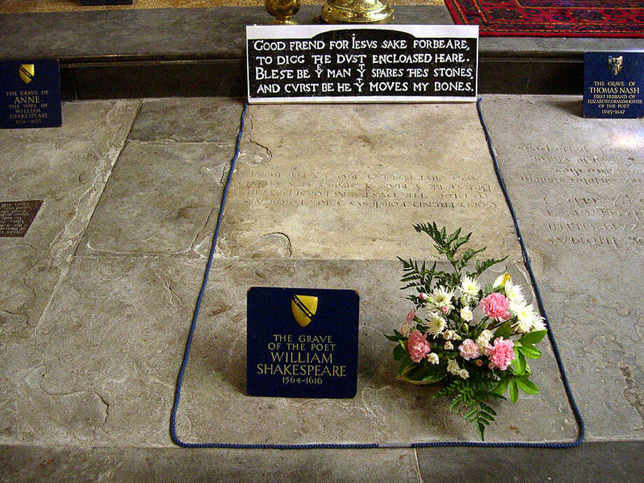 William Shakespeare's grave, Holy Trinity Church, Stratford-on-Avon, England.