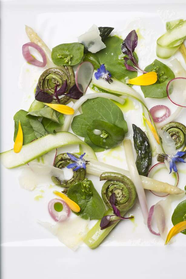 The Salade de Printemps; Fava Leaves, Easter Egg Radish, Fiddle Head Ferns, Asparagus, M‰che Lettuce, Pickled Pearl Onions, Pecorino con Foglie di Noce at SantŽ Restaurant at The Fairmont Sonoma Mission Inn and Spa in  Boyes Hot Springs, Calif., Thursday, April 18, 2013. Photo: Jason Henry, Special To The Chronicle