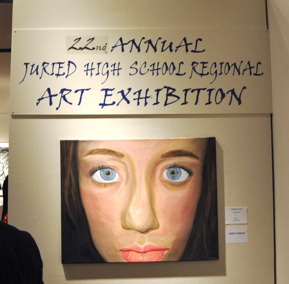 "The Fulton-Montgomery Community College art show exhibition's entrance piece is Guilderland student Katherine Love's ""Self-Portrait."" (Submitted photo)"