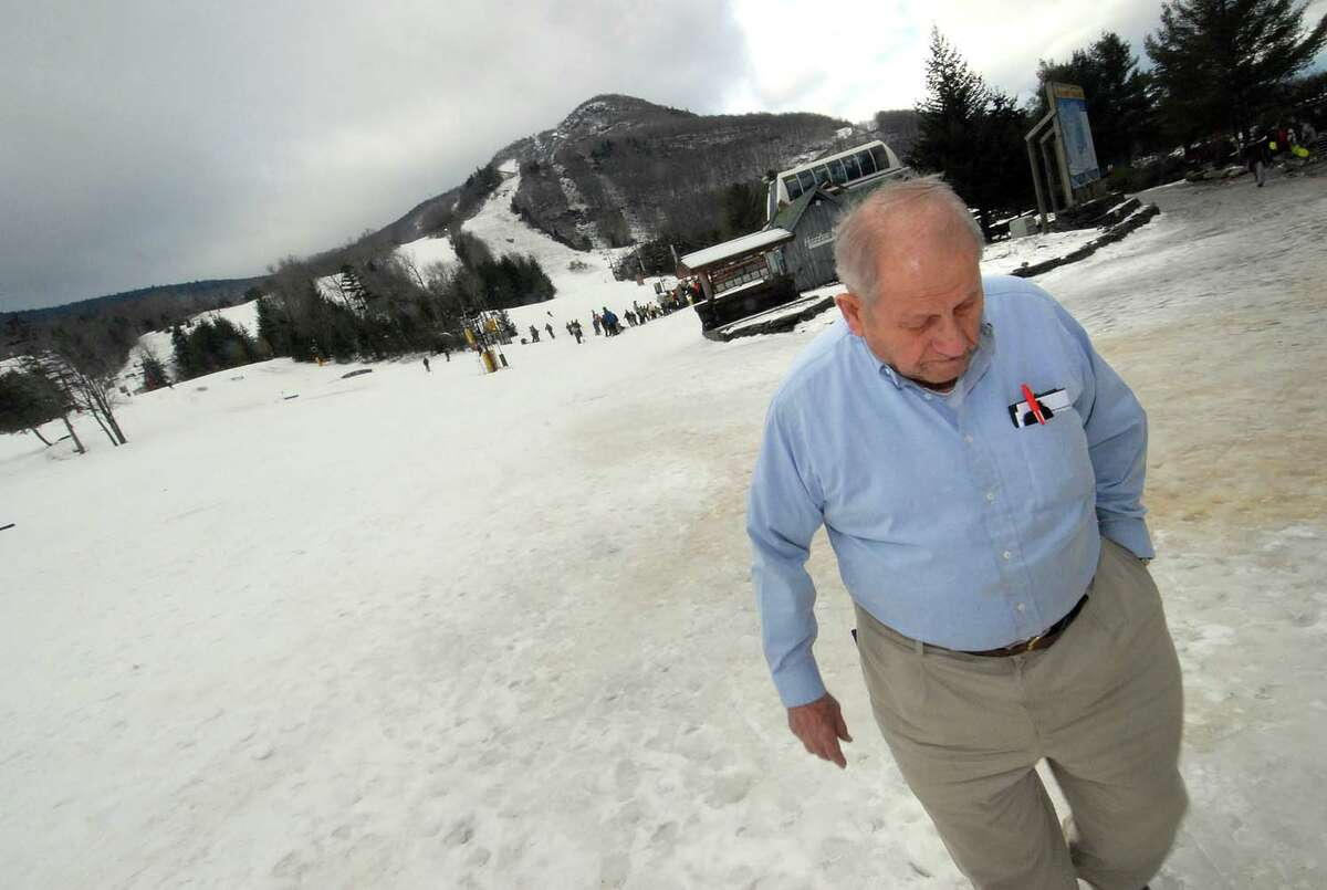 Orville Slutsky, 89, owner and founder of the Hunter ski area, walks on the base of the mountain near his office, Friday, Jan. 12, 2007. (Steve Jacobs/Times Union archive)
