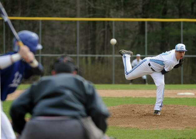 Columbia's Travis Sowards pitches during their high school boy's baseball game against Shaker on Tuesday April 23, 2013 in East Greenbush, N.Y.(Michael P. Farrell/Times Union) Photo: Michael P. Farrell