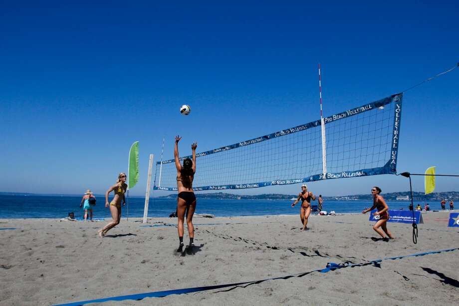 Beach volleyball and other sand-sun-water sports.