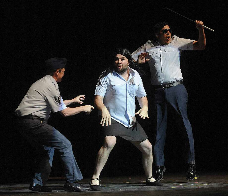 """Cast members of Cornyation spoof the recent Air Force basic training scandals on Tuesday, April 23, 2013. Cornyation is an event that takes """"irreverent pokes at politicians, the prominent and not-so-prominent,"""" according to its website. It benefits people living with AIDS or HIV. Photo: For The San Antonio Express-News / San Antonio Express-News"""