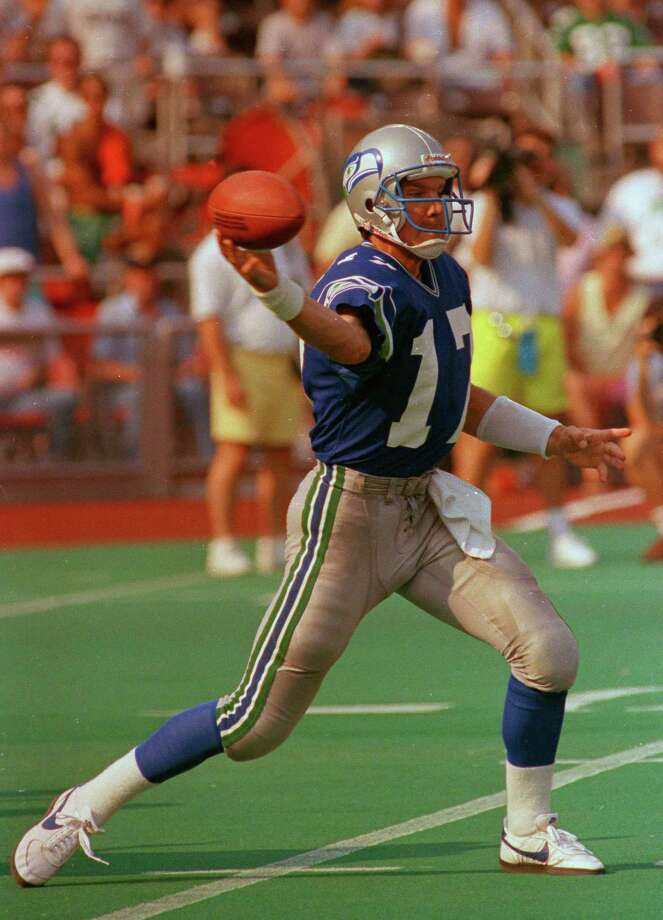 Seattle Seahawks: QB Dave Krieg, Milton. The 3-time Pro Bowler spent his first 12 seasons in Seattle before stops in Kansas City, Tennessee, Arizona, Chicago and Detroit. He threw for 261 career TDs. PHOTO: Krieg gets off a pass during loss to the Philadelphia Eagles in Philadelphia, ON Sept. 10, 1989. Photo: Associated Press File Photo / AP1989