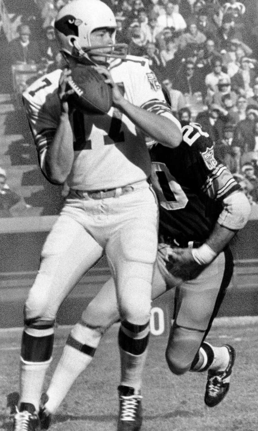 Arizona Cardinals: QB Jim Hart, Southern Illinois. Played 18 seasons with the Cardinals in St. Louis before finishing his career with a season in Washington. Was selected to the Pro Bowl 4 times. PHOTO: St. Louis Cardinals quarterback Jim Hart (17) getting set to pass in game against Pittsburgh Steelers shown Nov. 30, 1969.