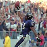 Baltimore Ravens, RB Priest Holmes, Texas. Spent his first 4 seasons in Baltimore and 6 more in Kansas City. The 5-time Pro Bowler and 5-time All-Pro ran for 1,555 yards in '01 and had 48 TD runs from '02-04.PHOTO: Holmes celebrates his touchdown run in the fourth quarter against the Indianapolis Colts on Nov. 29, 1998.