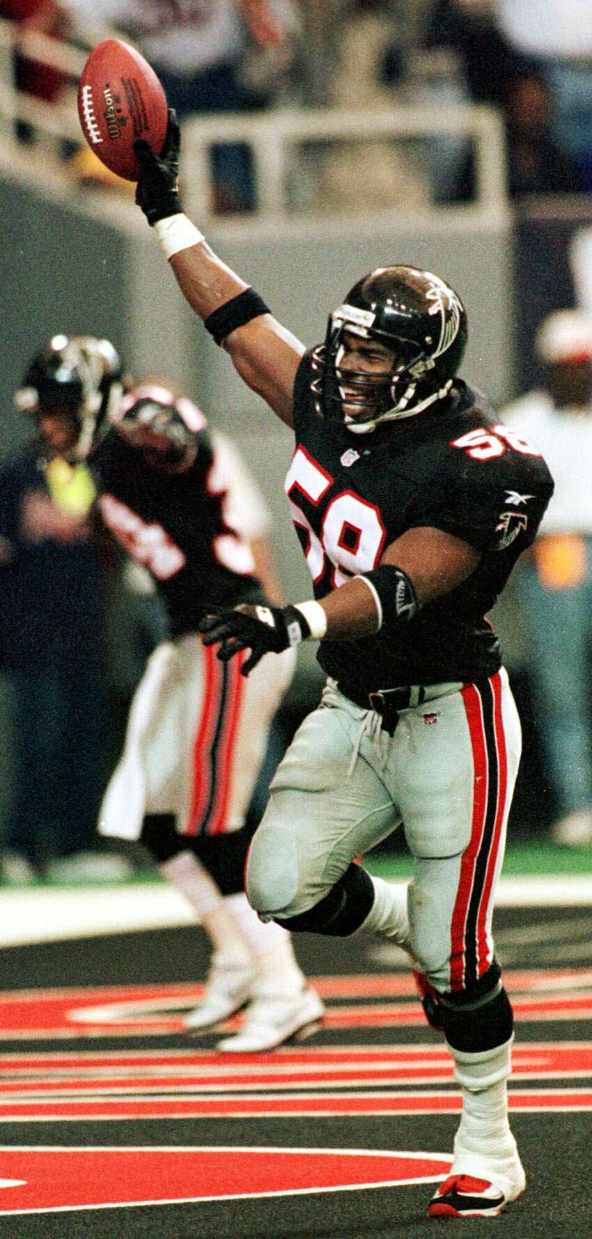 Atlanta Falcons: LB Jessie Tuggle, Valdosta State. A 5-time Pro Bowler, Tuggle was a mainstay with the Falcons for 14 seasons. He averaged 184 tackles from 1988-93.PHOTO: Tuggle (58) celebrates a second half touchdown on a San Francisco 49ers Steve Young fumble in Atlanta on Nov. 15, 1998.