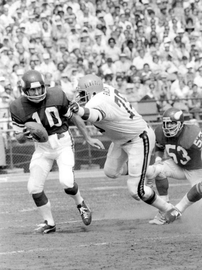 Cincinnati Bengals: DL Coy Bacon, Jackson State. Three-time Pro Bowler who also played for the Rams, Chargers and Redskins, Bacon had his two best years — 1976-77 — in a Bengals uniform as part of a dominant 14-year career. PHOTO: Minnesota Vikings quarterback Fran Tarkenton (10) tries to elude the grasp of Bacon (79) during a game on Sept. 3, 1977, at Riverfront Stadium in Cincinnati. Photo: Diamond Images®, Getty Images / 1977 Diamond Images®