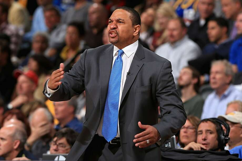 DENVER, CO - APRIL 23:  Head coach Mark Jackson leads the Golden State Warriors against the Denver Nuggets during Game Two of the Western Conference Quarterfinals of the 2013 NBA Playoffs at the Pepsi Center on April 23, 2013 in Denver, Colorado. The Warriors defeated the Nuggets 131-117. NOTE TO USER: User expressly acknowledges and agrees that, by downloading and or using this photograph, User is consenting to the terms and conditions of the Getty Images License Agreement.  (Photo by Doug Pensinger/Getty Images) Photo: Doug Pensinger, Getty Images
