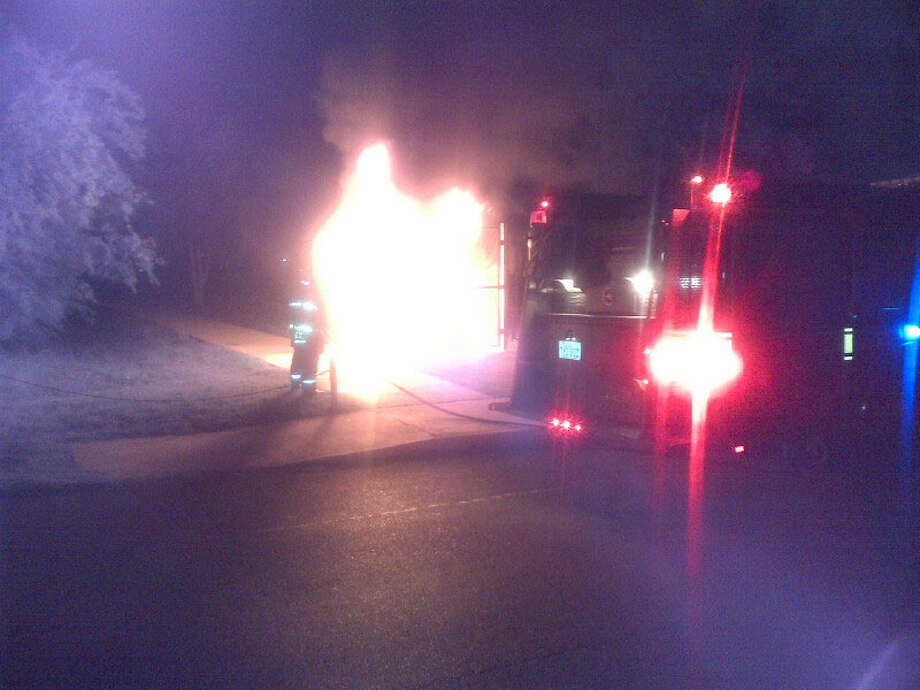 A port-a-potty was set on fire at Skyline Park on the East Side Tuesday night.