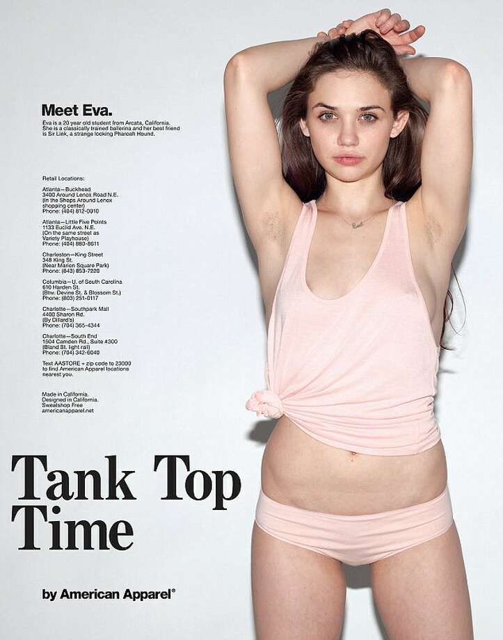 American Apparel puts out racy ads every season. The half-naked girl in this image is 20 years old but who's buying the clothing? Teens. Photo: American Apparel