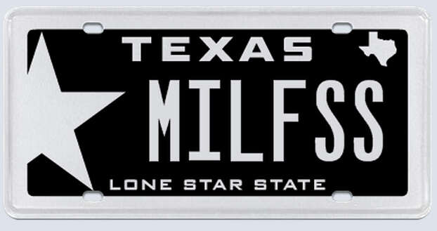 """What the applicant:""""MILF as in Millennium Falcon. I can take the space out and just put MILFSS if that would down the confusion. I am also a Texas native, and a veteran, therefore I know that you are not one to try to pull wool over your eyes, being Texan yourself."""" Photo: MyPlates.com"""
