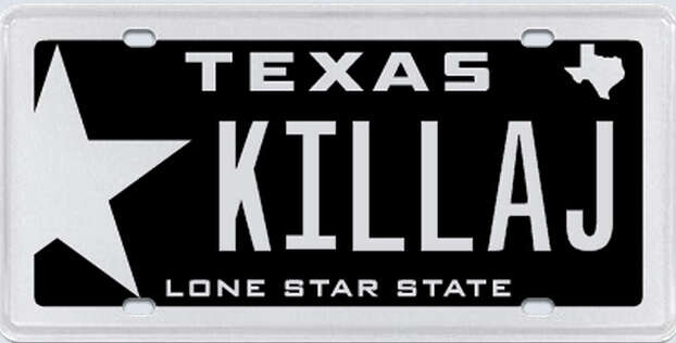 """""""The plates are intended to be placed on a 1990 Ford Mustang GT that has been repaired and remodeled, which is a hobby of the intended recipient (of this car.) It is something he has put a lot of hard work into, hence the name 'KILLA J.'"""" Photo: MyPlates.com"""