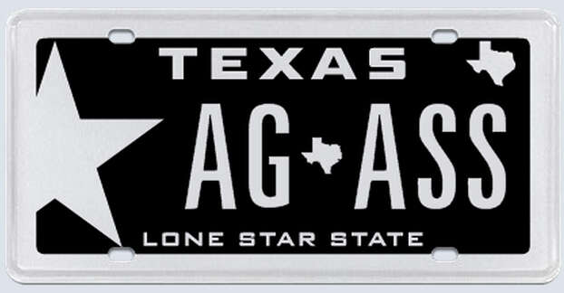 """What the applicant:""""The plate was to read 'AG' for my graduation from A&M in 2010 separated by the state of Texas symbol with the word 'ASS' behind the state symbol, representing the fact that my children show donkeys, commonly referred to as """"asses."""" Photo: MyPlates.com"""