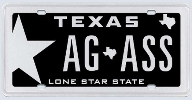 """The plate was to read 'AG' for my graduation from A&M in 2010 separated by the state of Texas symbol with the word 'ASS' behind the state symbol, representing the fact that my children show donkeys, commonly referred to as ""asses."" Photo: MyPlates.com"