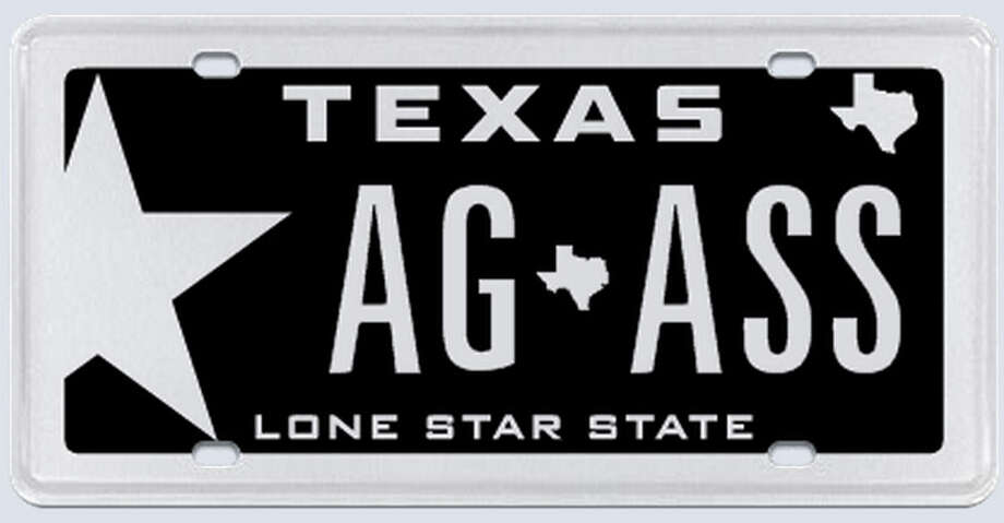 "What the applicant:  ""The plate was to read 'AG' for my graduation from A&M in 2010 separated by the state of Texas symbol with the word 'ASS' behind the state symbol, representing the fact that my children show donkeys, commonly referred to as ""asses."" Photo: MyPlates.com"
