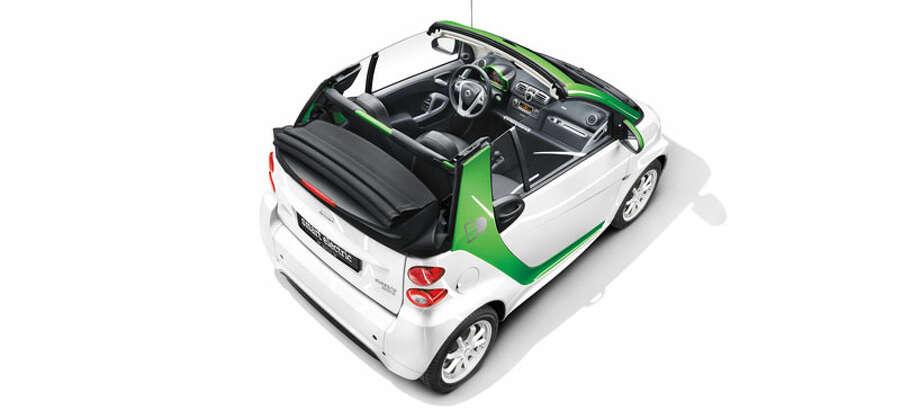 Car:2013 smart fortwo EV cabrioletMPGe: 107Base price: $25,000 Photo: Handout
