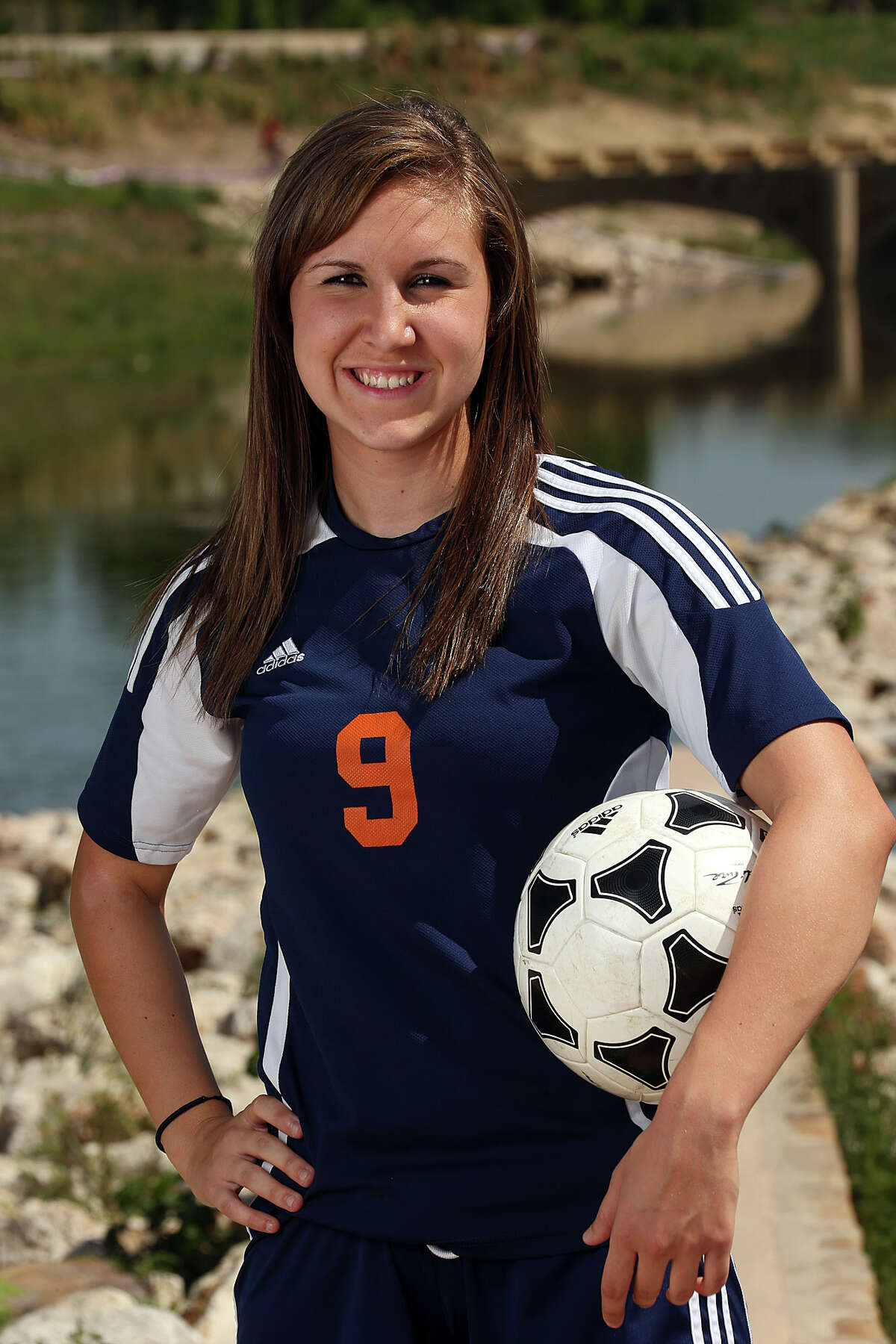 Abigail Koenigs, Brandeis High School soccer player photographed along the Mission Reach of the San Antonio River at Padre Park, Sunday, April 14, 2013.