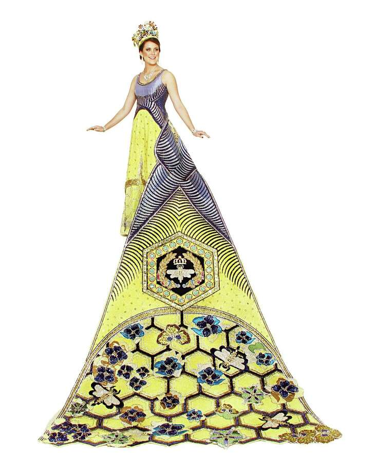 Jenness Suzanne GoughDuchess of Nature's ArchitectThe geometric matrix of a honeycomb is the inspiration for this train. Yellow sequined fabric is the background of the comb, created by lines of purple velvet and rhinestones. Jeweled honeybees and violets dot the base. The Napoleonic bee in a wreath symbolizes its connection to the French monarchy. Gough is the daughter of Mr. and Mrs. John Randolph Harig.