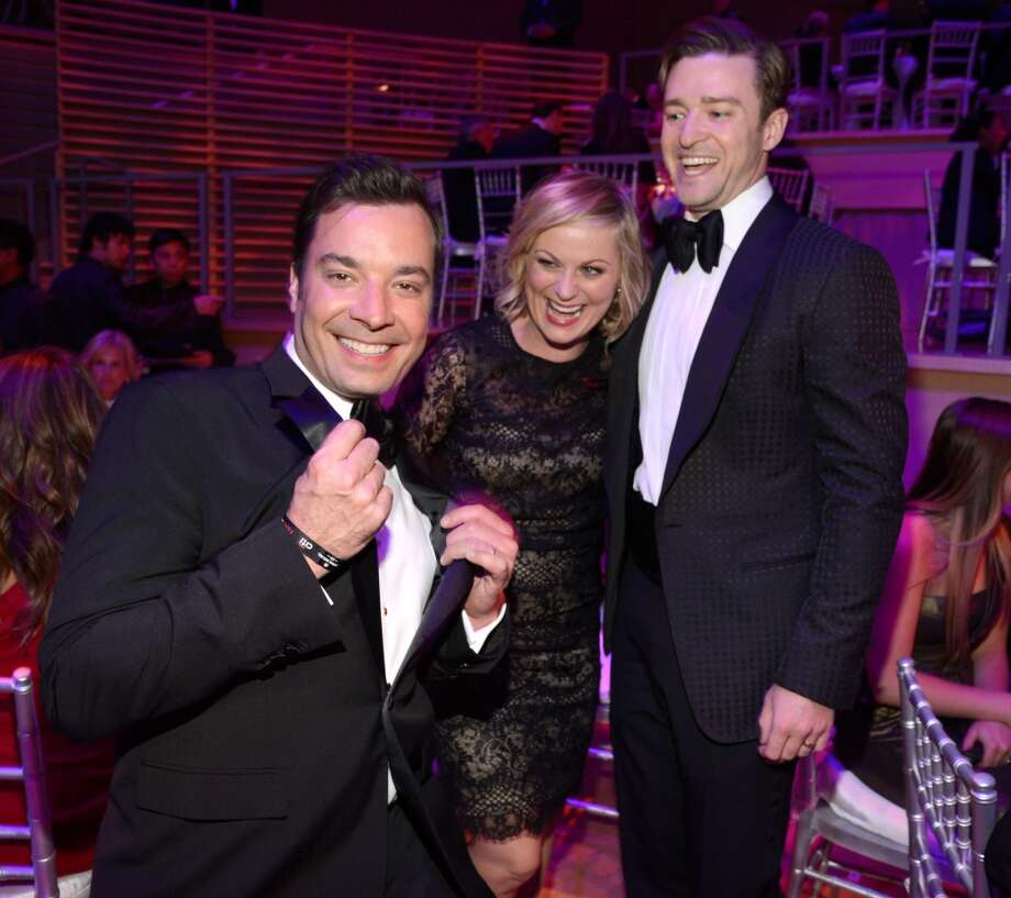 Jimmy Fallon, Amy Poehler and Justin Timberlake attend TIME 100 Gala, TIME\'S 100 Most Influential People In The World at Jazz at Lincoln Center on April 23, 2013 in New York City.  (Photo by Kevin Mazur/WireImage for TIME)