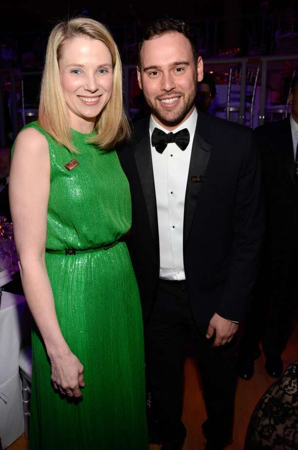 Marissa Mayer and Scooter Braun attend TIME 100 Gala, TIME\'S 100 Most Influential People In The World at Jazz at Lincoln Center on April 23, 2013 in New York City.  (Photo by Kevin Mazur/WireImage for TIME)