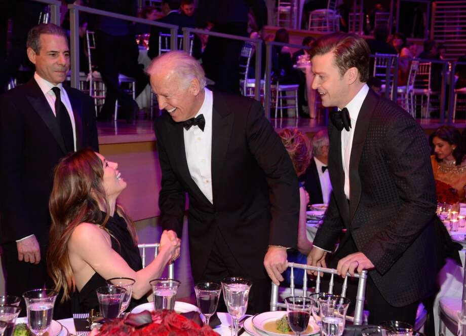 NEW YORK, NY - APRIL 23:  Jessica Biel, Vice President of The United States Joe Biden and Justin Timberlake attend TIME 100 Gala, TIME\'S 100 Most Influential People In The World at Jazz at Lincoln Center on April 23, 2013 in New York City.  (Photo by Kevin Mazur/WireImage for TIME)