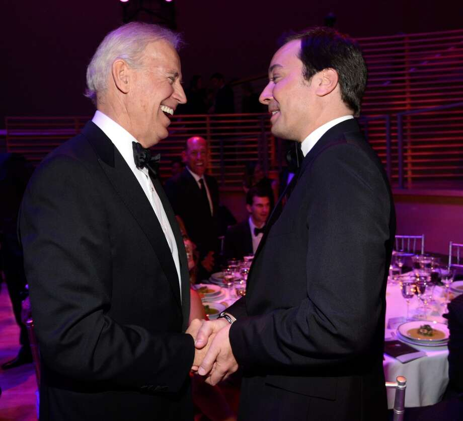 NEW YORK, NY - APRIL 23:  Vice President of The United States Joe Biden and Jimmy Fallon attend the TIME 100 Gala, TIME\'S 100 Most Influential People In The World at Jazz at Lincoln Center on April 23, 2013 in New York City.  (Photo by Kevin Mazur/WireImage for TIME)