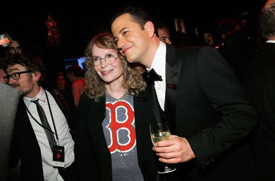 NEW YORK, NY - APRIL 23:  Actress Mia Farrow and Jimmy Kimmel attend the TIME 100 Gala, TIME\'S 100 Most Influential People In The World reception at Jazz at Lincoln Center on April 23, 2013 in New York City.  (Photo by Jemal Countess/Getty Images for TIME)